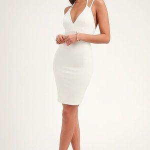 Lulu's Top Ranking White Midi Dress Bodycon